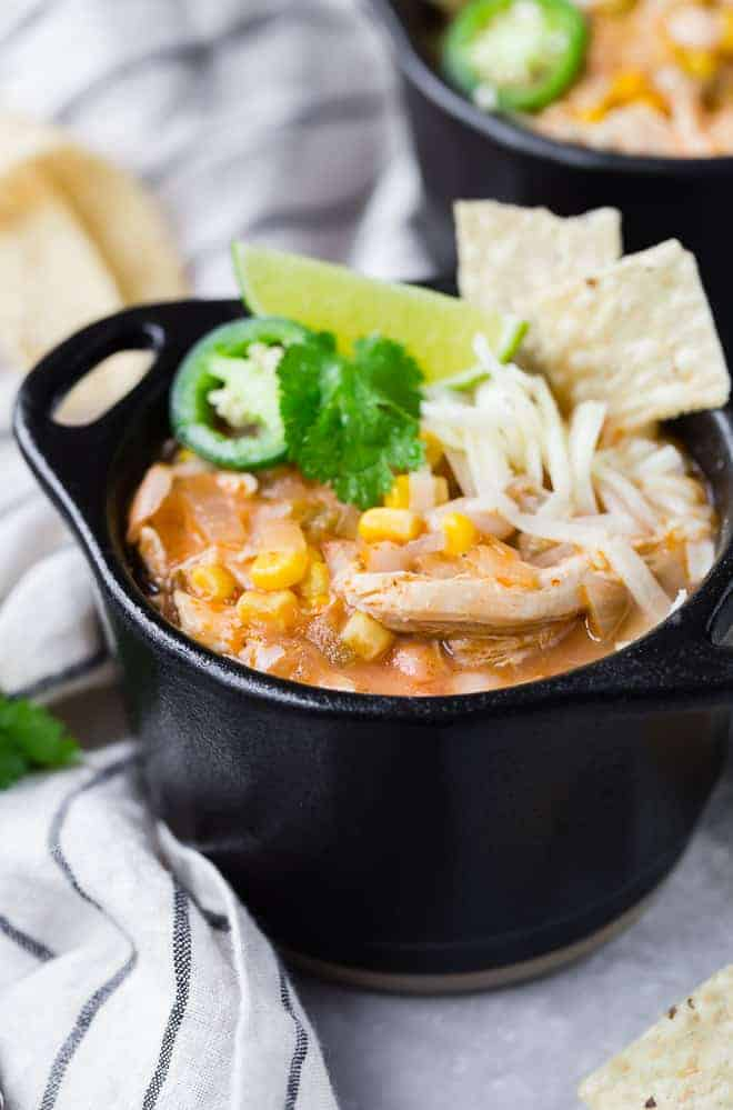 Making Instant Pot white chicken chili is so quick and easy, you'll wonder how you got along without this recipe. Plus, it's dairy free!