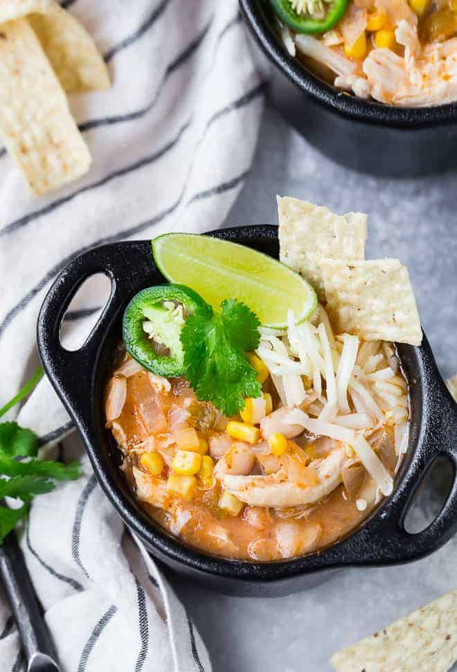 Image of Instant Pot White Chili with garnishes.