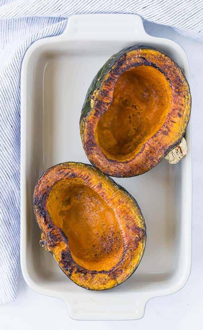 image of roasted kabocha squash halves