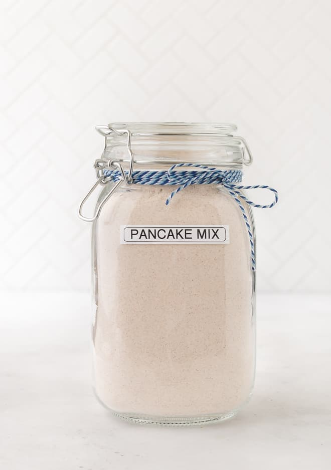 Image of whole wheat pancake mix in a large jar.