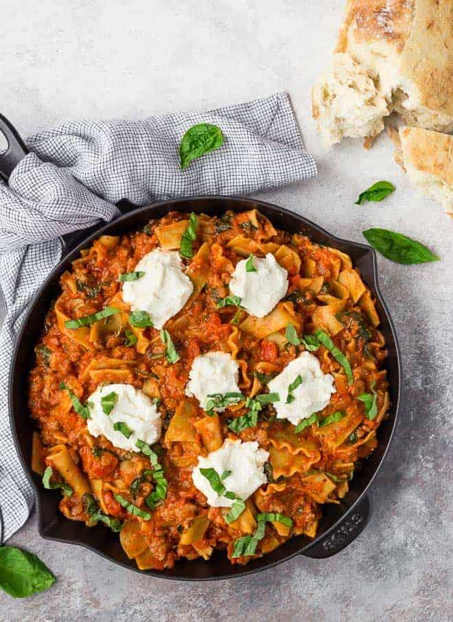 one pan lasagna photo