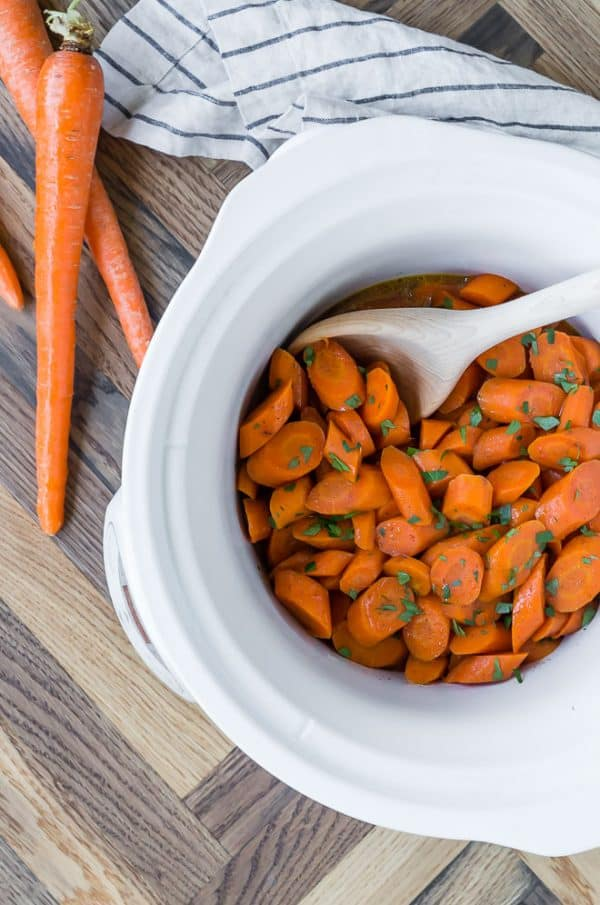 Picture of easy slow cooker glazed carrot recipe.