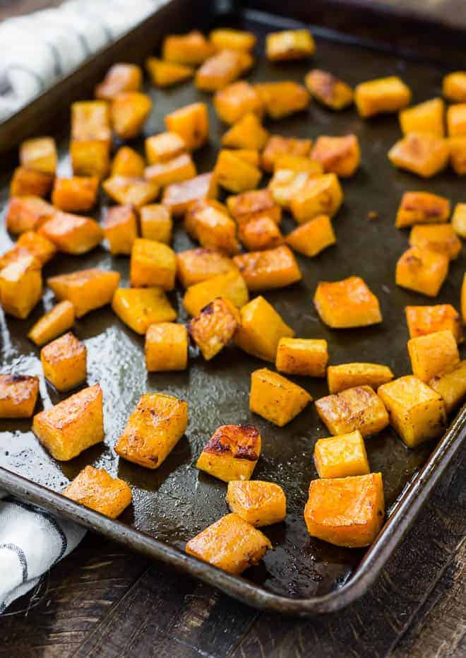 This roasted butternut squash is both spicy and sweet is 100% perfect! It's an easy and healthy side dish that the whole family will love.