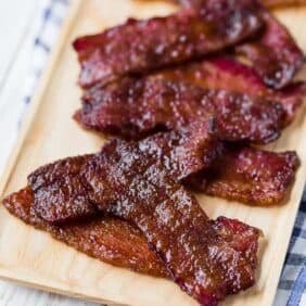 "Candied bacon, ""pig candy"", bacon candy, pork candy, call it what you will, this irresistible treat will have everyone calling for more! This candied bacon recipe is easy to whip up and is a guaranteed favorite!"