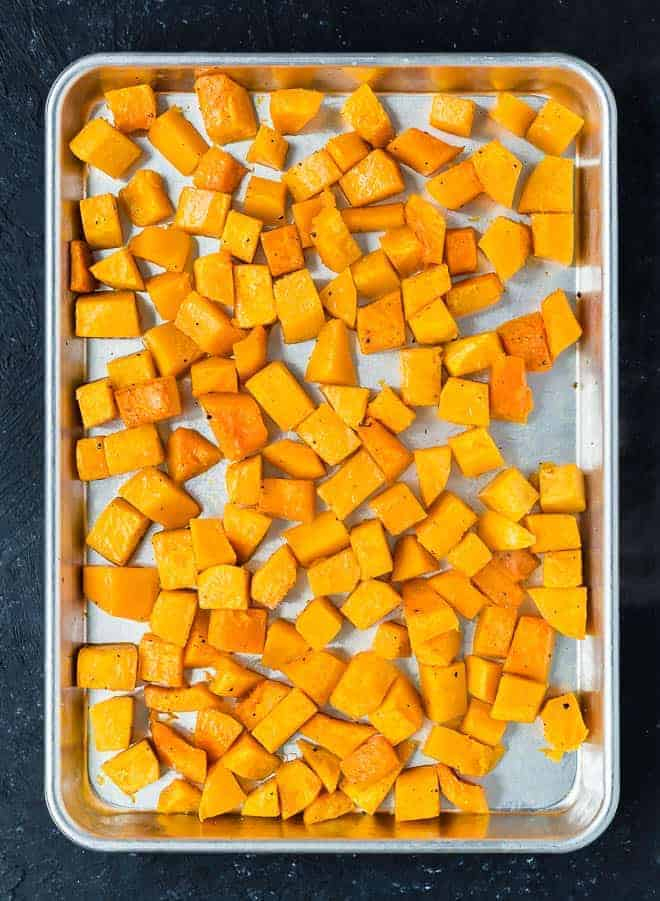 Image of roasted butternut squash cubes.