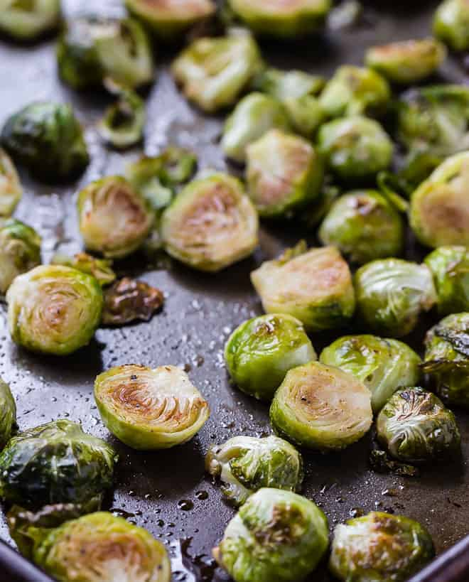 brussels sprouts on a roasting pan