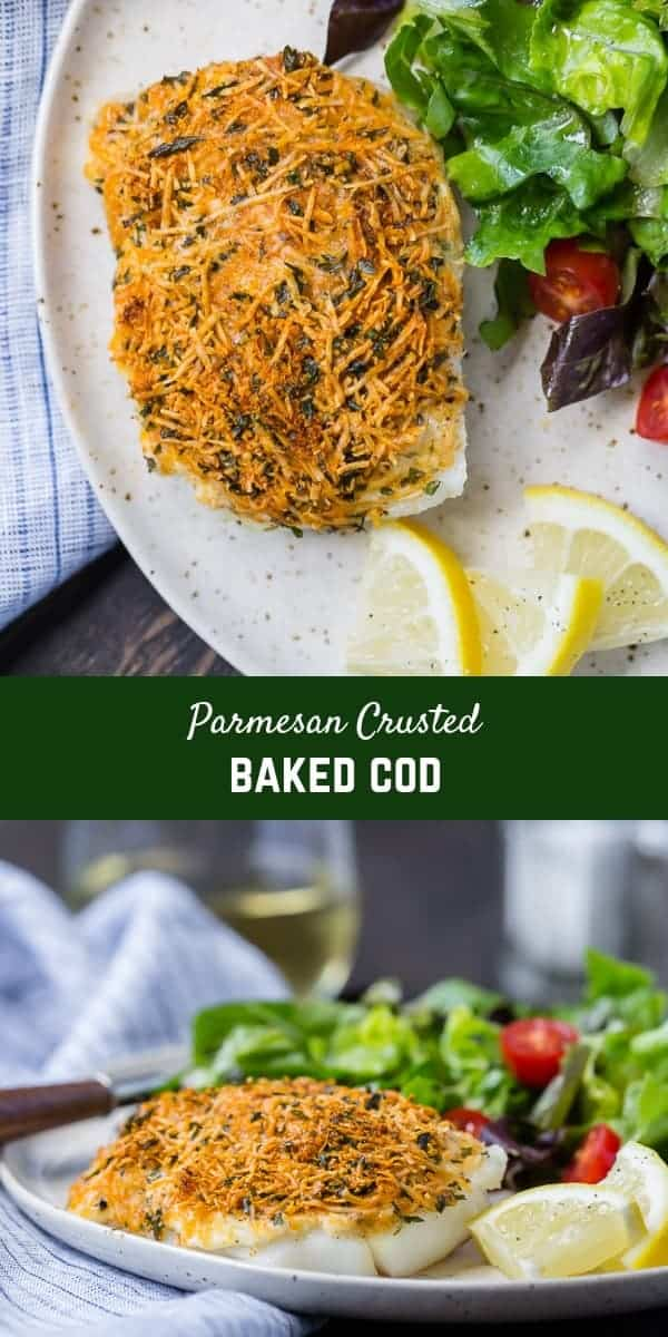 Mild tasting cod encased in a flavorful, crispy crust, this Parmesan baked cod is a simple and delicious way to add healthy seafood to your weekday menu. High in protein and low in fat, inexpensive cod is a great choice.