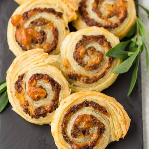 Sausage Pinwheels with Apple, Sage, and Gruyère