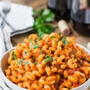 Pasta with pancetta in an easy smoky tomato sauce.