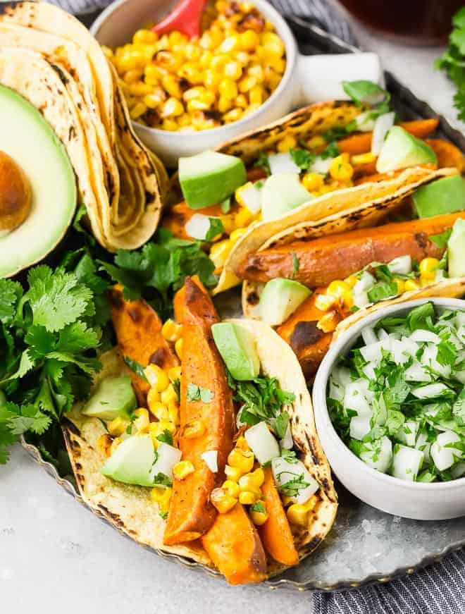Image of vegan tacos with sweet potatoes and corn.