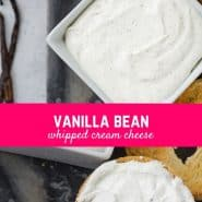 This vanilla bean whipped cream cheese is perfect on a bagel, english muffin, or your morning toast! And it's so easy to make!