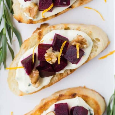 Beet Bruschetta with Orange Tarragon Goat Cheese