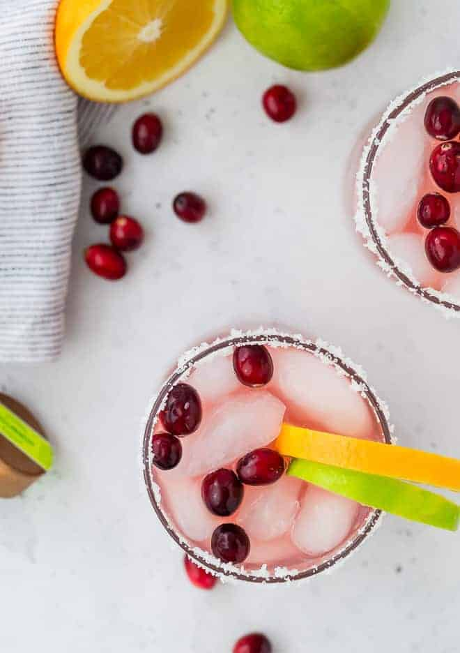 This cranberry margarita recipe is a festive addition to your Thanksgiving or Christmas menu, but is 100% delicious all year round!