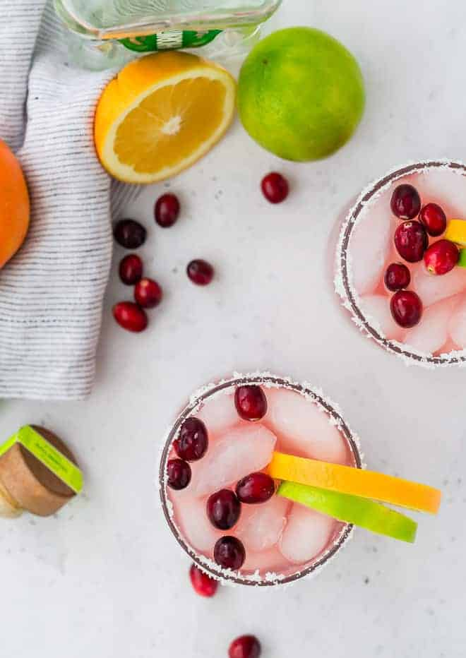 image of cranberry orange margaritas, shot from above