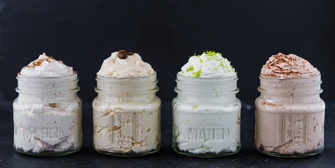 image of four whipped cream flavors