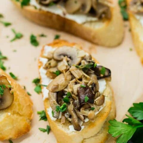 Wild Mushroom Crostini with Goat Cheese