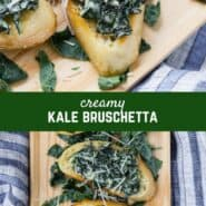 Reminiscent of spinach dip, creamy kale bruschetta will knock your socks off. Crisp bread topped with warm, creamy sautéed kale, enhanced by a hint of garlic and nutmeg, make this appetizer irresistible.