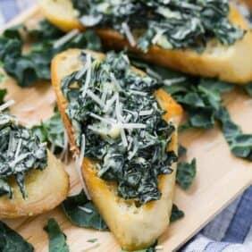 Image of creamy kale bruschetta, aka crostini