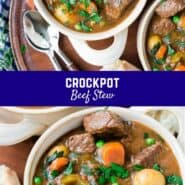 "Cozy, hearty beef stew...does anything say ""comfort food"" more? This crockpot beef stew recipe results in super tender, fall-apart meat."