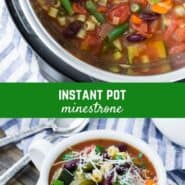 Chock full of nutritious and tasty vegetables, kidney beans, and pasta, this hearty Instant Pot minestrone soup can be made in less than an hour. Perfect on a cold winter's night, it tastes like a sunny garden!