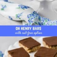 A family favorite, these homemade Oh Henry bars are based on a candy bar made by Nestlé. You'll love the sweet chewy oat base, topped with rich peanutty fudge.