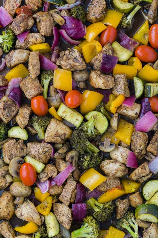 image of chicken marinated in balsamic vinegar and honey, on a sheet pan with vegetables