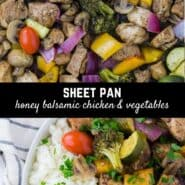 Tender marinated chicken and flavorful crisp vegetables combined and roasted in the oven on a sheet pan. Serve honey balsamic chicken and vegetables over a bed of steaming rice for an easy and delicious entrée.