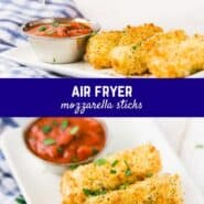 Unbelievably crispy, these air fryer mozzarella sticks are everything you want from a gooey mozzarella stick without all the oil!