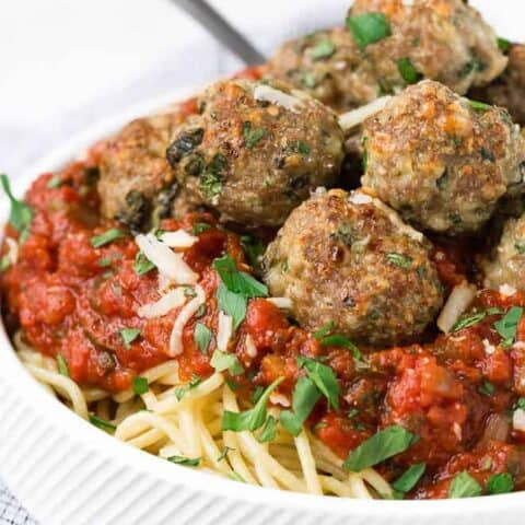 Image of a giant bowl of spaghetti with turkey meatballs.