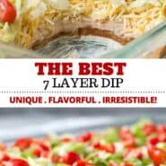 This isn't your ordinary 7 layer dip recipe – it's the best and has a couple unique layers that make it really stand out from the crowd. It's easy and has a wonderful Mexican flavor. Make it for your next party or game day and everyone will be asking for the recipe! #appetizer #dip #7layerdip #partyfood #gameday