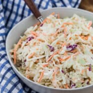 Image of a super simple, easy, creamy coleslaw recipe.