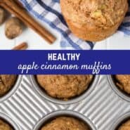 Made with whole wheat flour and just two tablespoons of oil, these healthy apple muffins are a perfect snack or breakfast.