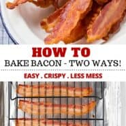 Love bacon but hate the hassle and mess? Learn how to bake bacon in the oven. It's so easy with very little mess and you'll have the best perfect crispy bacon slices every time! #bacon #baked #breakfast #easy