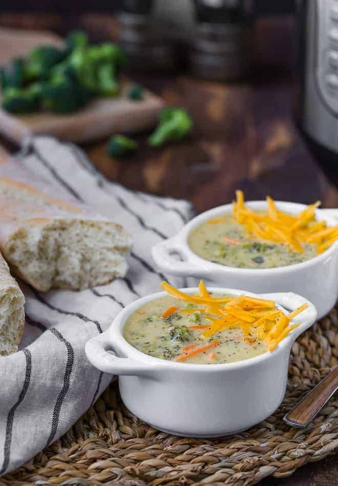 image of broccoli cheddar soup in bowls.