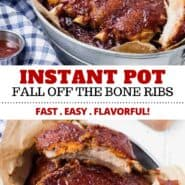 This recipe for Instant Pot ribs gives you fall-off-the-bone, flavorful ribs, in around an hour! It's almost magical and it's going to be your go-to when you want ribs but don't have hours to spare. #ribs #instantpot #easy