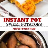 Instant Pot Sweet Potatoes might be your new favorite way to make sweet potatoes. They're so easy and ready in about 30 minutes (including pressure release!) and they come out silky smooth every time. #sweetpotatoes #instantpot #side #easy