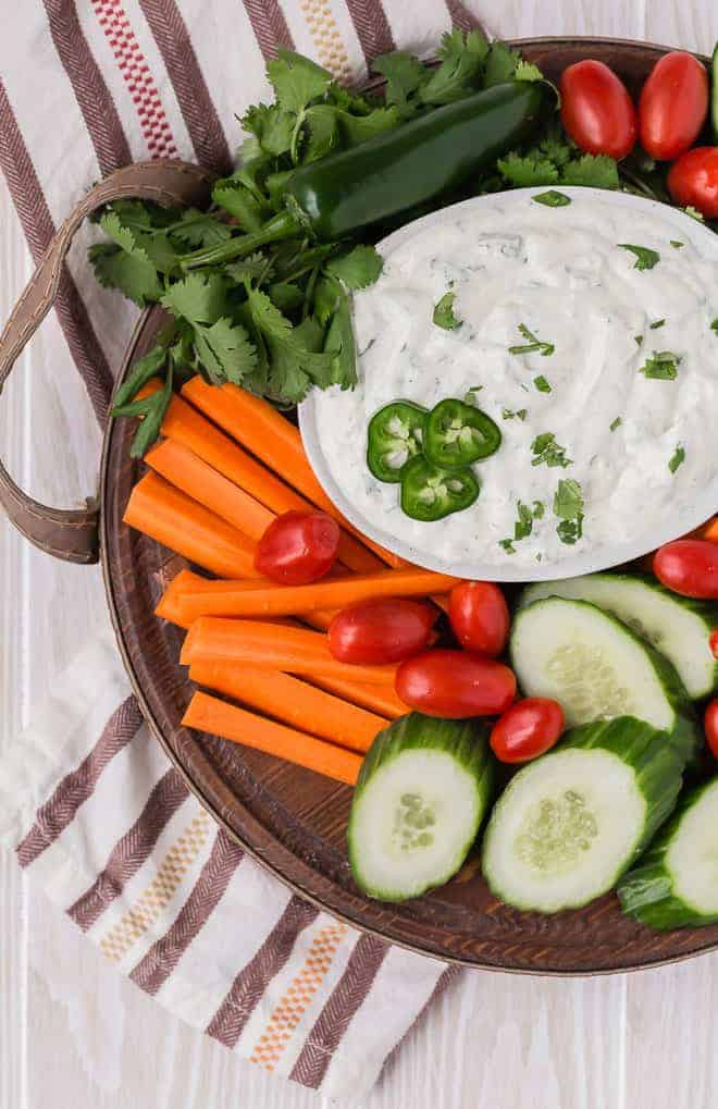 Image of ranch dip seasoned with jalapeno, green chile, lime, and cilantro.