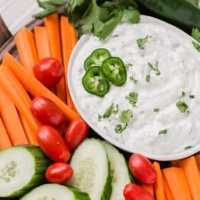 Image of southwestern ranch dip made with jalapeno and green chiles.