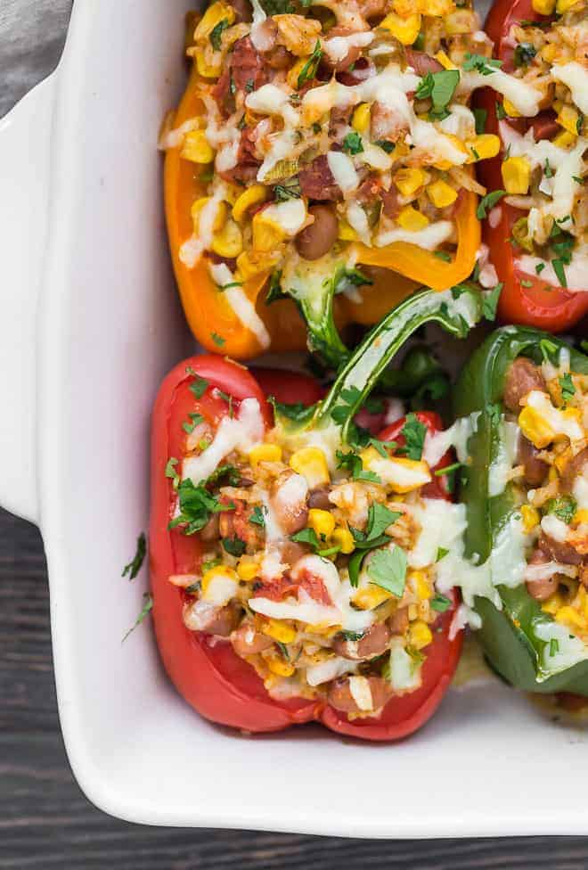 Close-up image of a colorful stuffed pepper.