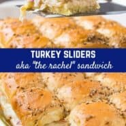 Turkey sliders, aka Rachel sandwiches or turkey Reubens, are a delightful twist on a traditional Reuben. You'll love these sliders stuffed with sliced turkey, creamy coleslaw and nutty Swiss cheese, baked in the oven until golden.