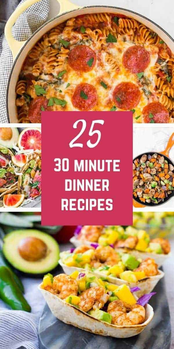 Looking for tasty dinner time ideas that can be made in a half hour or less? Check out this wide-ranging collection of twenty-five 30 minute dinners. Delicious, easy, quick, and filling: isn't that just what you're looking for?
