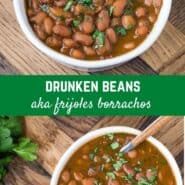 """Slow simmered pinto beans, Frijoles borrachos, or """"drunken beans"""" get their flavor from dark Mexican beer and bacon. Juicy and bursting with flavor!"""