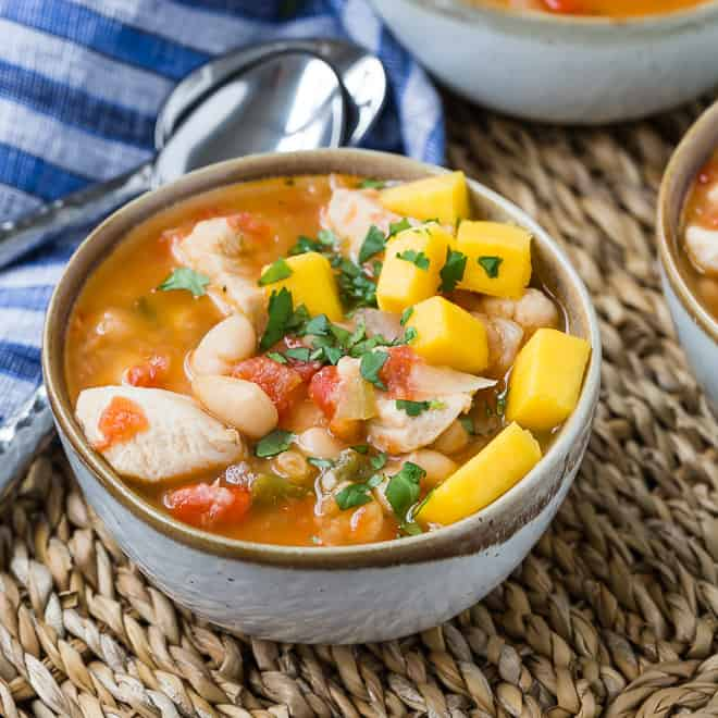 Image of chicken chili seasoned with jerk flavors.