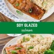 Savory oven-baked glazed salmon, marinated and seasoned perfectly with soy sauce, garlic, and honey. Easy to prepare and fancy enough to serve to guests.