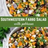 这道法罗色拉菜谱的颜色和味道都很丰富:烤红薯、辣烤波布拉诺辣椒、黑豆、玉米和芫荽叶,配上自制的辣椒莱姆酱。