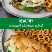 咖喱鸡肉沙拉的拼贴图像。