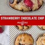 Fresh strawberries and oozing dark chocolate are deliciously combined in strawberry chocolate chip muffins. Better for you than bakery muffins, you'll love this recipe.