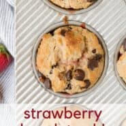 Collage image of strawberry chocolate chip muffins.