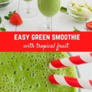 Overhead view of a green smoothie with two red and white straws. Text overlay reads