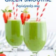 Two green drinks in stemmed glasses with red and white straws. A text overlay reads